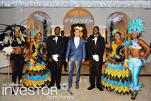 CEO Adam Stewart Sandals Royal Bahamian staff and entertainers