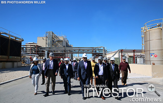Prime Minister Dr Hubert Minnis, and his delegation tour the PharmaChem plant