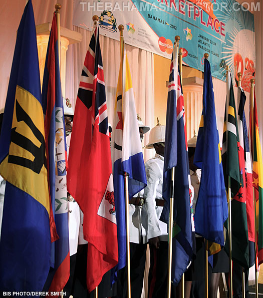 stage is set with the flags of the Caribbean nations