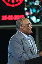 Prime Minister Hubert Ingraham addresses the audience at the opening ceremony of the new sports stadium on February 25.