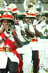 The Royal Bahamas Police Force band plays at the ceremony.