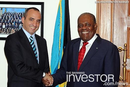 Prime Minister Hubert Ingraham greets Ernesto Soberon Guzman