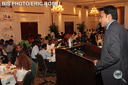 Suhas Gopinath addresses the Junior Achievement Bahamas First Private Sector Lunch and Lecture