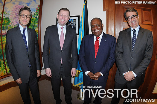Top Swiss bankers make a courtesy call on Prime Minister Hubert Ingraham while in Nassau.