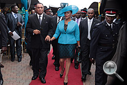 Prime Minister the Rt. Hon. Perry Gladstone Christie escorts his wife Bernadette