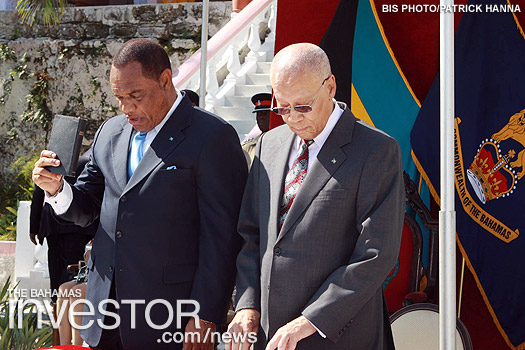 Perry Christie reads the Oath of Office as he is sworn in as Prime Minister of the Commonwealth of The Bahamas