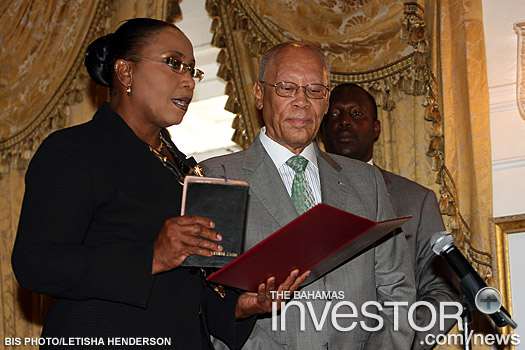 Cleola Hamilton sworn in as Parliamentary Secretary in the Ministry of Foreign Affairs and Immigration during an appointment Ceremony of Parliamentary Secretaries at Government House May 14