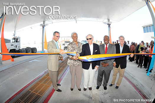 Cutting the ribbon to officially open the new Nassau Container Port at Arawak Cay