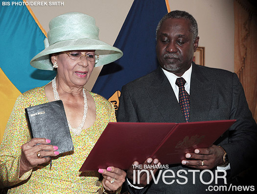 Dame Marguerite Pindling is pictured being sworn-in as Deputy to the Governor General