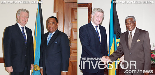 UK High commissioner with PM Christie and National Security Minister Nottage