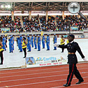 Cadets march with the official CARIFTA flag
