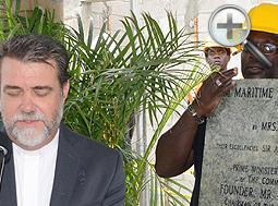 Rev. William Higgs blesses the Cornerstone