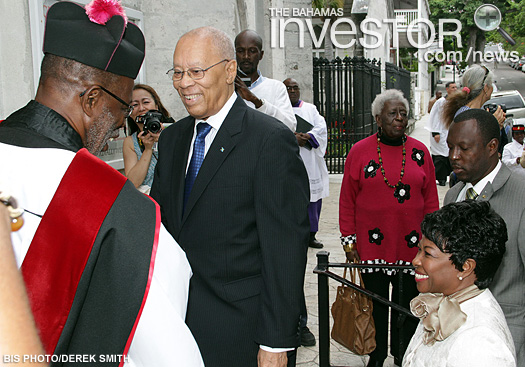 The Very Rev'd Patrick Adderley, Dean and Rector of Christ Church Cathedral, greets Governor-General Sir Arthur Foulkes and Lady Foulkes
