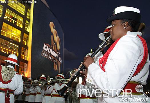 Bahamas police band performs at Heat game