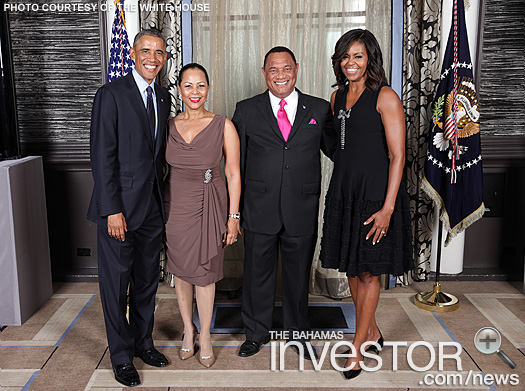 Barack Obama,  Bernadette Christie, Perry Christie, Michelle Obama