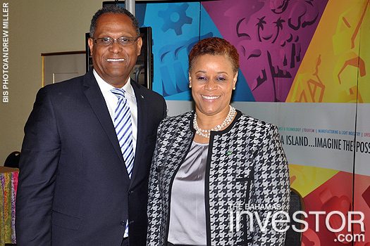 Hope Strachan with Minister for Grand Bahama Dr Michael Darville