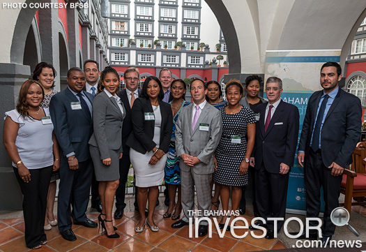 CEO Aliya Allen (centre) with  representatives of the Bahamas financial services industry