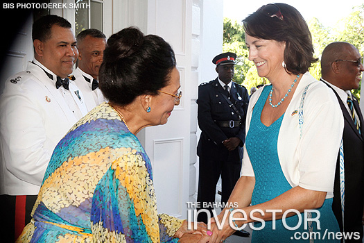 Dame Marguerite greets US Charge d'Affaires