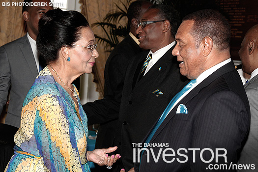 Perry Christie chats with Dame Marguerite