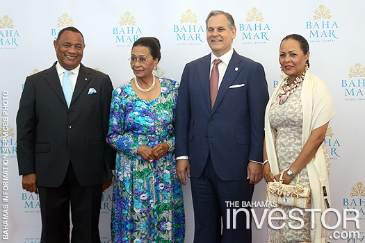 Prime Minister Perry Christie, Governor General Dame Marguerite Pindling, Baha Mar president Graeme Davis, and Bernadette Christie, wife of PM Christie