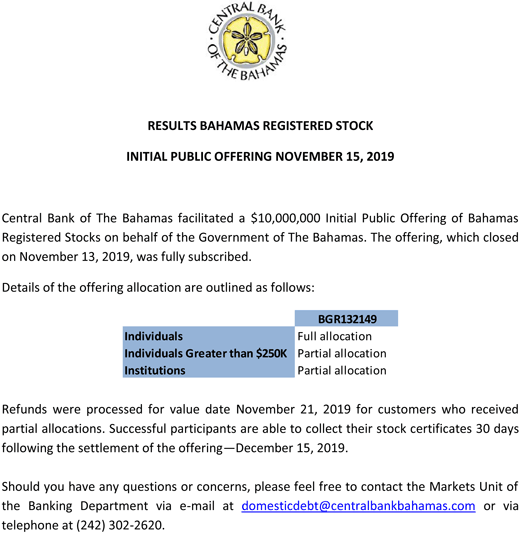 details of registered stock IPO